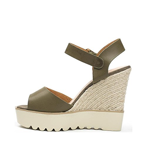 Ideal Shoes Sandales Compensées en Similicuir Dorinne Taupe