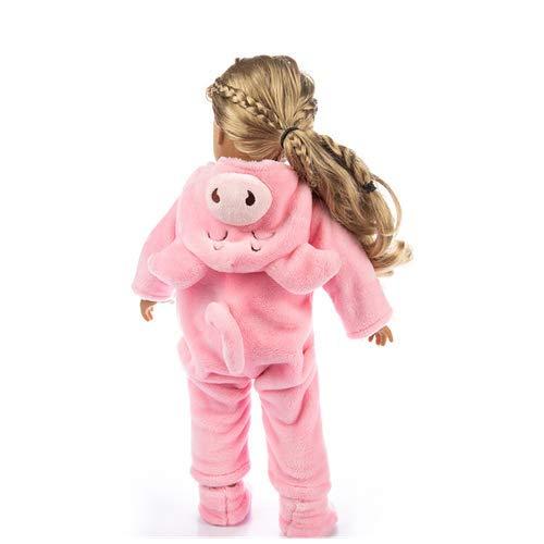 Jumpsuit Animal Mignon Vêtements Manteau Fille Jouet pour 18 Pouces Poupée Accessoire Fille Jouet Unisexe Anime Animal Costume Vêtement de Nuit Cosplay Combinaison Pyjama ou Déguisement (Rose)