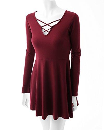 Romanstii Robe Femme rouge vin Faible Coût Recommander