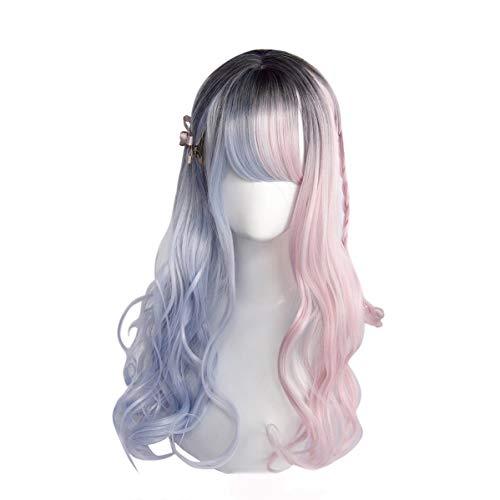 Paare Kostüm Es Tun Sich - AS Rosa Blaue Steigungsperücke, Lockiges Haar Der Rollenspielperücke, Langes Haar des Vollen Kopfes, Tägliches Fantastisches Make-up for Frauenparty, 21,5-22 Zoll