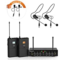 Wireless Microphone System,Fifine UHF Dual Channel Wireless Microphone Set with 2 Headsets and 2 Lapel Lavalier Microphone Ideal for Church, Weddings,Presentations,School Play-K038