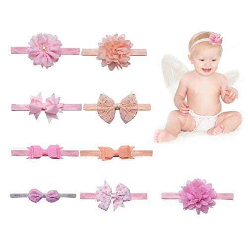 Hbselect fascia capelli neonata accessori capelli bambina 9 pezzi elastici fascette neonata nastri capelli con fiocchi multicolori