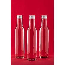 slkfactory - Botellas de cristal vacías, 250 ml, botellas para zumo con cierre de rosca para rellenar, 0,25 l, botellas para licor, aguardiente, vinagre o aceite (6,12, 24, 30o 40unidades) 20 unidades weiß