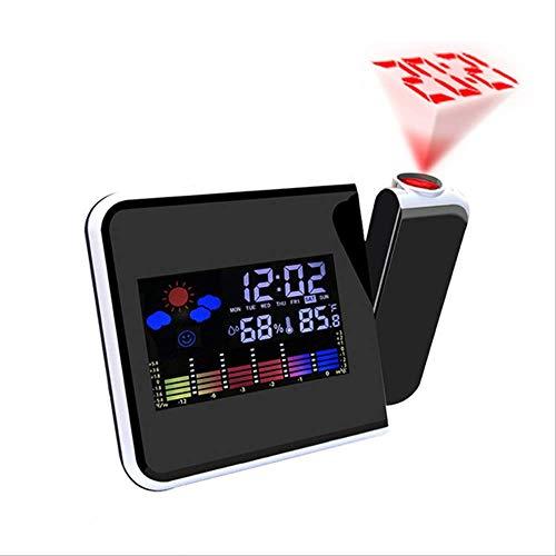 Reloj despertador de proyección digital, pronóstico del tiempo con LED, reloj despertador con proyector...