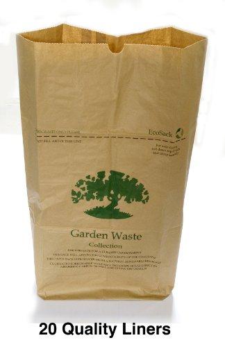 Papier compostables 75 litres Lot de 20 sacs à déchets de jardin
