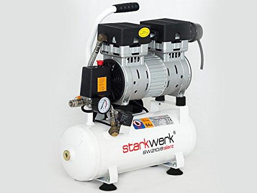 Starkwerk Silent Druckluft Kompressor Flüsterkompressor SW 210/8 Ölfrei 750Watt - 64db