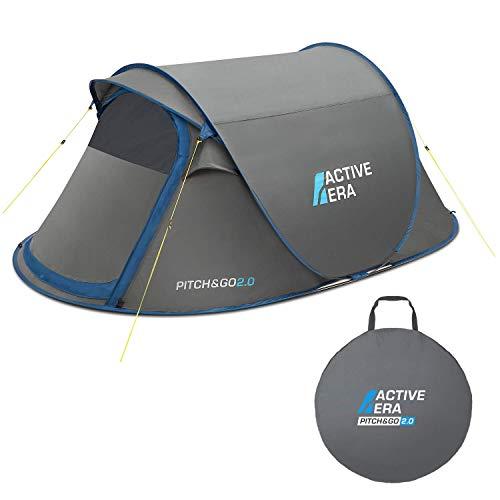 Active EraTM Premium Wurfzelt für 2 Personen - 100{e29da725f0c8649d99b8a839de36df4335dd5d4b0b60073f09ddc097481b7e6f} wasserfestes Zelt mit verbesserter Belüftung und praktischer Tragetasche | Perfekt für Festivals und Camping