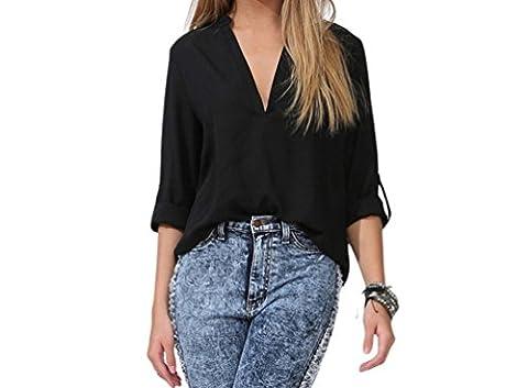 Bling-Bling Womens Black V Neck Loose Fitting Chiffon Blouse Size M