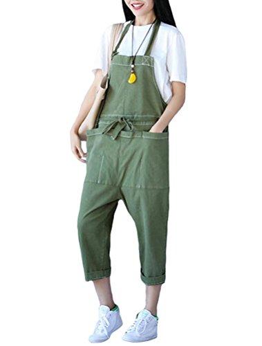 MatchLife Damen Jeans Latzhose Hosen Jumpsuits Style14-Grün