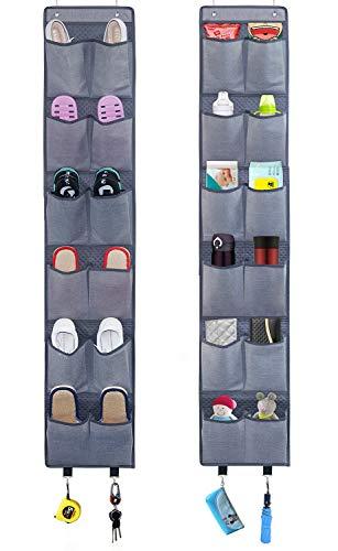 Homyfort salvaspazio appendibile con ganci, scarpiera a sospensione da porta a 12 x 2 scomparti, organizzatore armadio in tessuto per scarpe, sandali, ciabattine, 28x156cm, grigio scuro, x3g12gp2