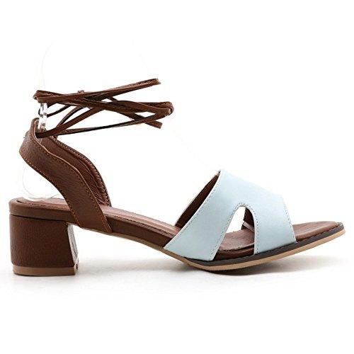 COOLCEPT Femme Mode Lacets Sandales Bout Ouvert Talon Bloc Slingback Chaussures Bleu