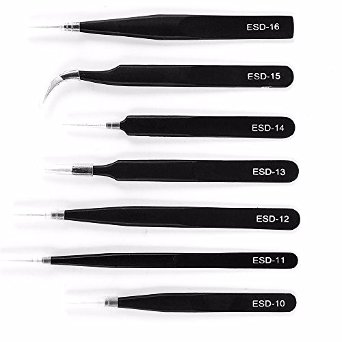 Yahee 7 Stück Edelstahl Spitzpinzette Sets Pinzetten Antistatisch Reparaturen Werkzeug, Schwarz