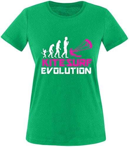 EZYshirt® Kitesurf Evolution Damen Rundhals T-Shirt Grün/Weiss/Pink
