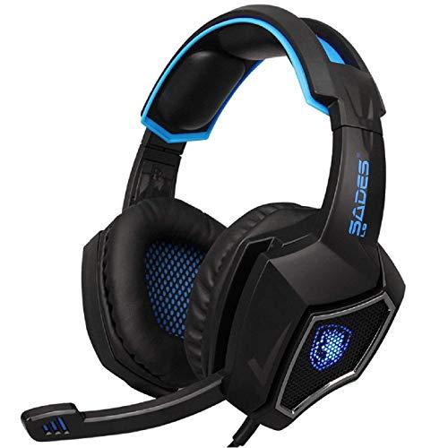 12 Doppel-draht (Cinhent On-Ear-Kopfhörer - SADES L9 verkabelte Gaming-Doppel-3,5 + USB-Kopfhörer mit Mikrofon Geräuschunterdrückung Kopfhörer für PS4 für Reisen, Arbeit, TV, PC, Handy)