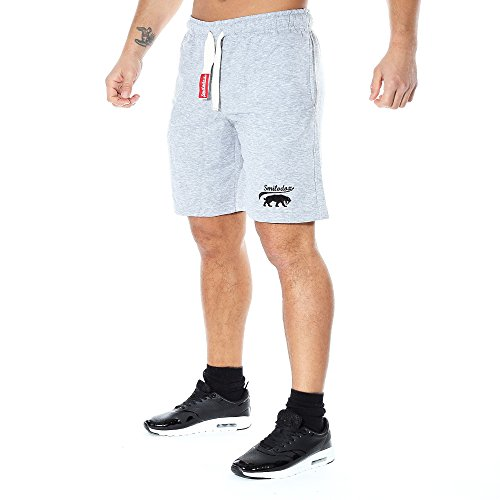 SMILODOX Herren Shorts 'Basic' | Kurze Hosen für Sport Fitness Gym Training & Freizeit | Jogginghose - Freizeithose - Trainingshose - Sweatpants Jogger - Sporthose Kurz, Farbe:Grau, Größe:M