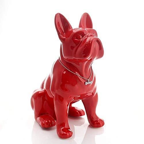 Estatua de Bulldog Francés de porcelana de 32cm Roja