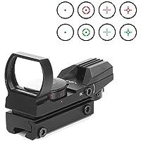 YODZ Visor de Punto Rojo Visor de Rifle Rojo/Verde Óptica refleja Ajustes tácticos Ajuste de retícula de 11 mm / 20 mm 4 Ranuras de Visor y tejedor de Fibra óptica Superior