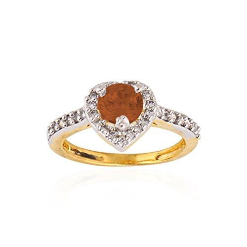 Be You percussione, colore: arancione a lobo impreziositi con Zirconia cubica, placcata al rodio, con anello per donna, Ottone, 13,5, colore: arancione, cod. 99900000012454
