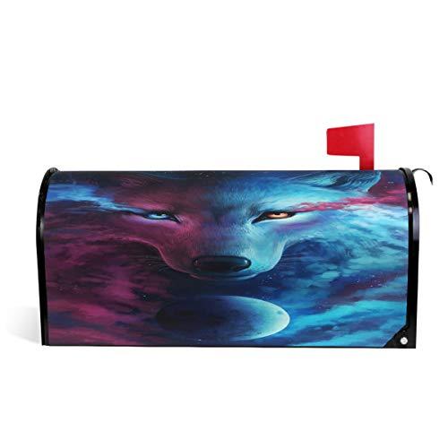 Wamika Galaxy Wolf Mond, magnetische Briefkasten-Abdeckung, Briefkasten-Wraps, Briefkasten, Garten Hof, Heimdekoration für Außenbereich, Standardgröße 52 cm (L) x 46 cm (B)