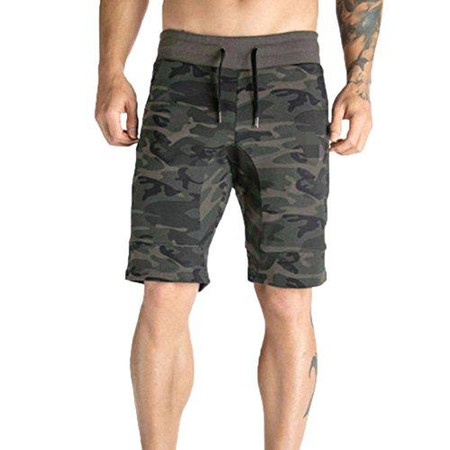Kurze Hosen Reißverschluss Tasche Casual Elastische Camo Harem Training Jogger Fitness Sommer Sport Shorts GreatestPAK Armee-Grün ()
