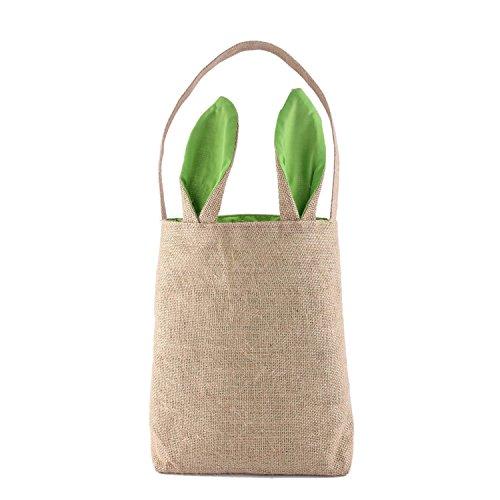 Tasche Ostern Korb, Dual Layer Bunny Ohren Design Jute Stoff Material, Ostern Tasche Tasche, der Eier Geschenke für Ostern Party Grün ()