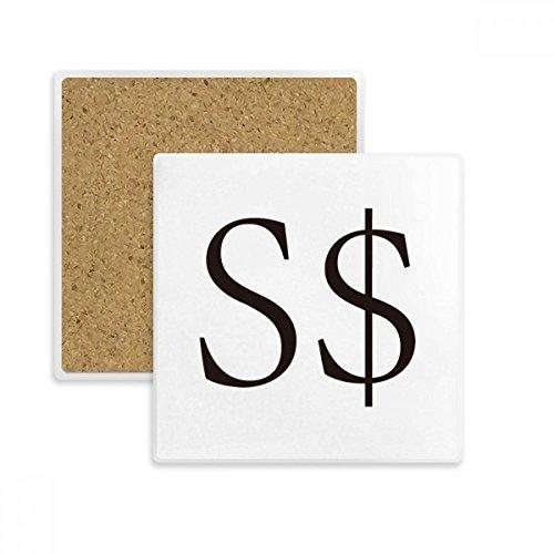Währung Symbol Singapur Dollar quadratisch Untersetzer Cup Becher Halter saugfähig Stein für Getränke 2Geschenk