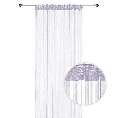 Warp Rideau Fil à tricoter pour Home Decor avec Creative Design avec motif à rayures, Polyester, blanc, W90cm x L200cm (35