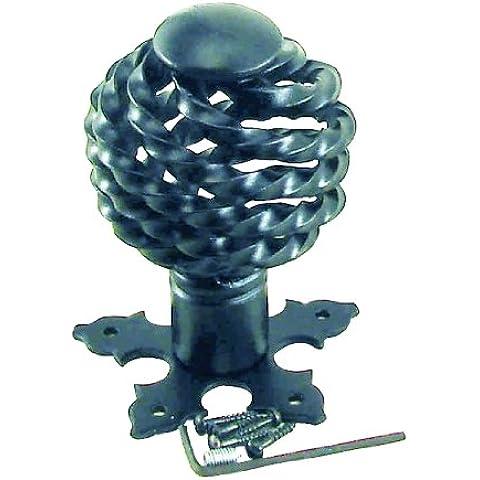 Botón de giro hierro forjado shérardisé cuero 4 mm