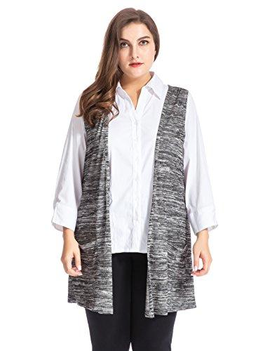 Chicwe Damen Große Größen Melange Stricken Taschen Weste 54 Holzkohle (Polo-t-shirt Grau Stricken)