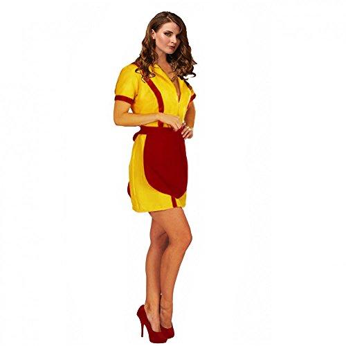eid gelb mit Schürze rot Kostüm TV-Serie (Damen 2 Broke Girls Kellnerin Kostüme)