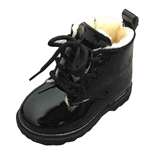 Jamicy® Botas De Bebê Do Inverno Estilo Do Exército Leter Criança Jovem Martin Sapatos Quentes, Preto De Algodão