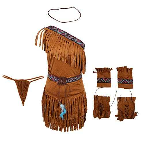 D DOLITY 6 in 1 Indianerin Kostüm Quaste Damen Karneval Fasching Verkleidung Wilder Westen Kostüme mit Haarschmuck String Gürtel - Khaki, M