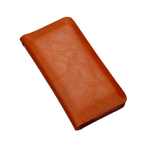 Frauen PU Leder Geldbörsen Kreditkartenhüllen Münzbörsen Personalausweishüllen Scheckbuchhüllen für 5.5 Zoll Phone Hellbraun