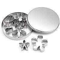 Cortadores de galletas de acero inoxidable con forma de flor pequeña y hoja ...