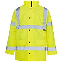 Style Spot Hi-Viz Safety Workwear Jacket Coat High Vis 3-4 Length Parka Reflective Tape Quilted Security Road Hood Fluorescent EN471