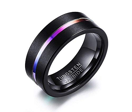 KLMFG Edelstahl Schmuck Schwarz Hartmetall Regenbogen Groove Center 8mm Matt Mens Wedding Ring Band (Kostüme Super Center)