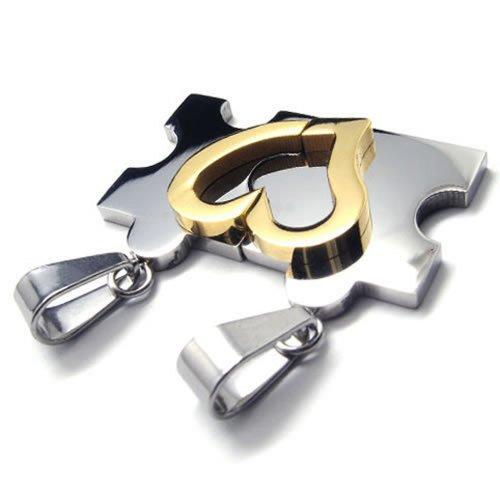 KONOV Schmuck 2 Freundschaftsketten Herz Puzzle Love Edelstahl Partner-Anhänger mit 45cm und 55cm Kette, Halskette für Damen & Herren, Gold Silber