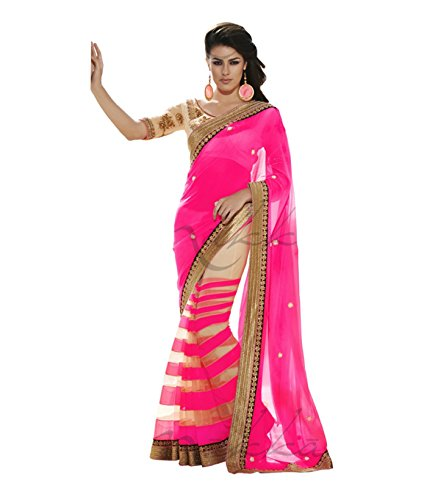 Koroshni Embroidered Pink Half And Half Georgette Saree With Blouse Material  available at amazon for Rs.249