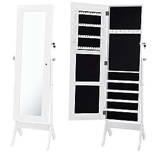 [neu.haus] Schmuckschrank (156cm hoch) (weiss) Spiegelschrank / Standspiegel / Schmuckkasten