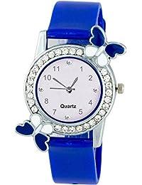 Swadesi Stuff Exclusive Premium Quality Diamond Studded Blue Butterfly Stylish Analog Watch For Girls & Women