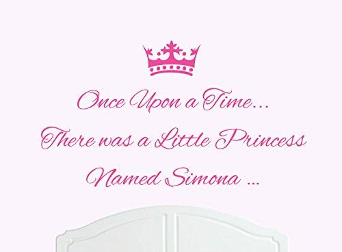 ONCE UPON A TIME THERE WAS A LITTLE PRINCESS LLAMADO SIMONA GRANDE ADHESIVO DECORATIVO PARA PARED/DE VINILO CAMA HABITACION ARTE CHICA/BEBE