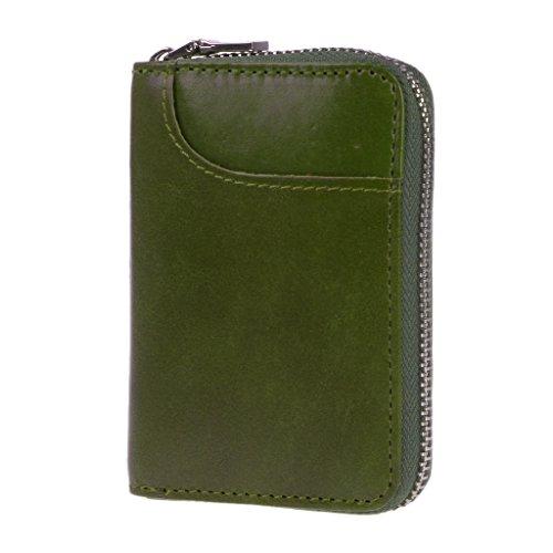 Lamdoo RFID-blockierender Kreditkarte Inhaber Fall Organizer Echtes Leder Reißverschluss Geldbörse Grün, Leder, Grün, 11.5x8x2cm/4.53x3.15x0.79(Approx) (Geldbörse Inhaber Fall)