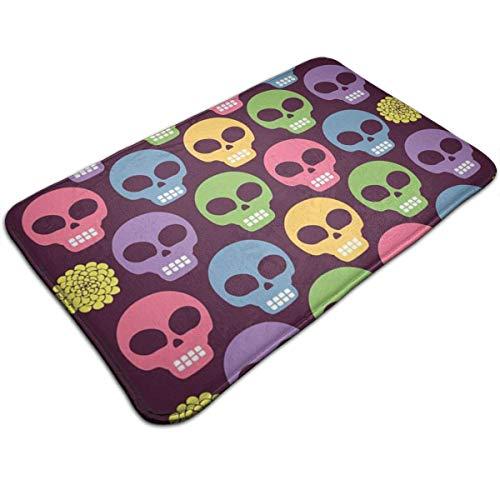 Outdoor-reversible Patio-mat (XIEXING Water Absorption Reactive Dyeing Durability Doormat Colored Skull Doormat, Carpet 15.7