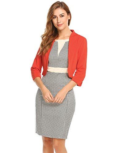 Meaneor Damenjacke Elegant Mode Kragenlos Kurz Blazer Jacke Bolero mit 3/4 Ärmel Orange Rot
