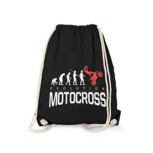 Fashionalarm Turnbeutel - Evolution Motocross | Fun Rucksack mit lustigem Motiv für Motocrossfahrer Motorrad Offroad Dirt Bike Fahrer Biker Hobby, Farbe:schwarz (Frauen Dirt Bikes)
