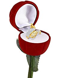 Meenaz Valentine Heart Rings For Girls Gold Plated In American Diamond Jewellery Velvet Red Rose Ring Box For... - B01N4GWAU9