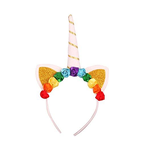 Upper Diadema de Unicornio Arco Iris Sombrero de Halloween Diadema Disfrazado Cuerdas de Cuerno para Disfraz Cosplay