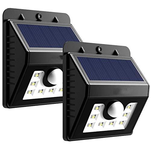 Solar-Sicherheitslichter, 3-in-1-Solarlichter Bewegungsmelder leuchtet im Freien Wasserdichte helle Lichter mit 3 intelligenten Modi für Garten, Zaun, Treppe, Hof oder Einfahrt (8 LED),2pack -