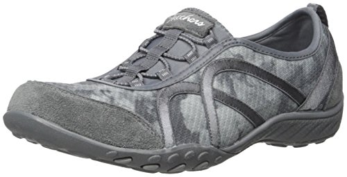 Skechers Breathe-easy meadows, Baskets Basses femme Charcoal/Gray Mesh/Charcoal Suede