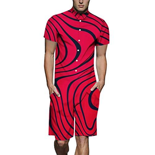 Yogo Home Sommer Herren Große Größe Rot Hemdkragen Overall Zebradruck Werkzeug Freizeithemd Knopf Atmungsaktive Doppelseitentasche Jugend Casual Shorts (1,3XL) - Jugend Red Zebra